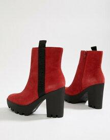 カルバンクライン レディース ブーツ・レインブーツ シューズ Calvin Klein chunky red suede branded heeled ankle boots Red