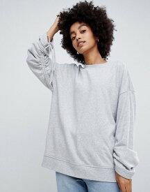 ドクターデニム レディース パーカー・スウェット アウター Dr Denim sweatshirt with ruched sleeve Light grey mix