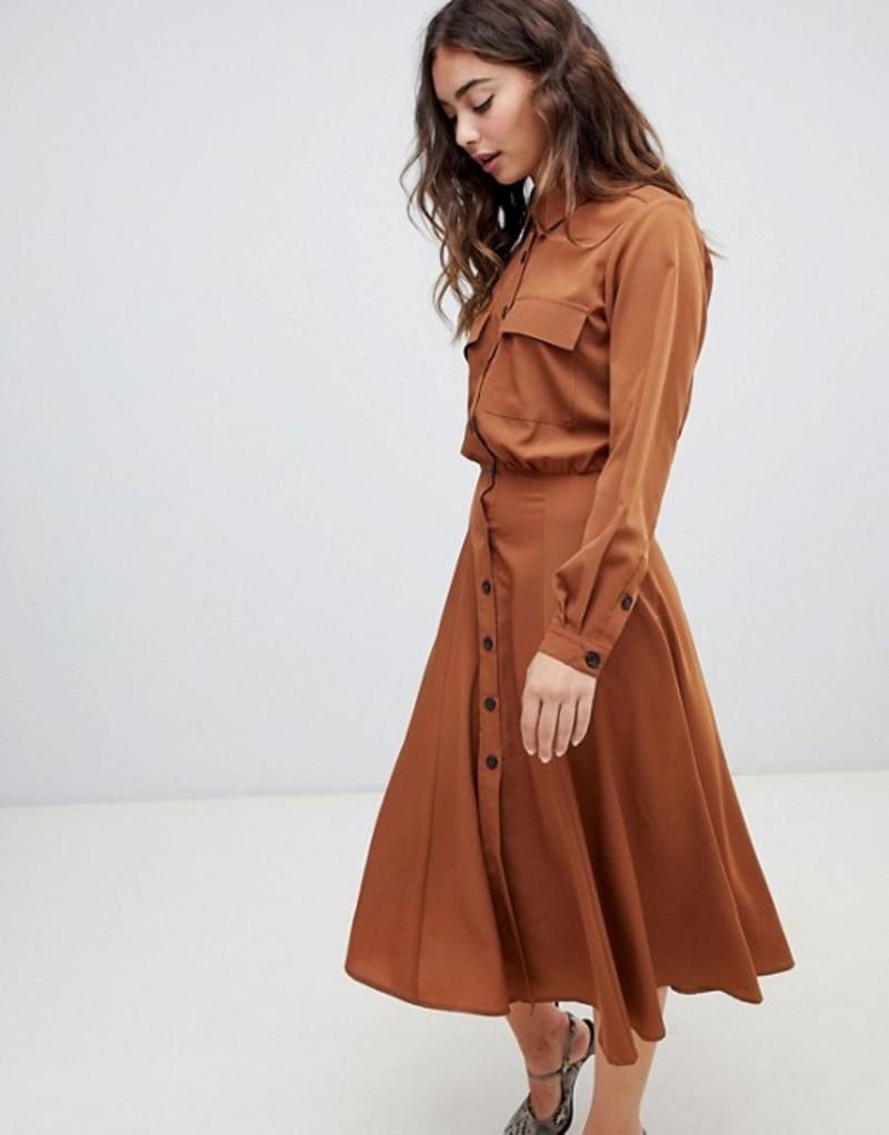 ウエアハウス レディース ワンピース トップス Warehouse top pocket shirt dress in rust Camel