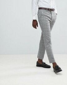 フレンチコネクション メンズ カジュアルパンツ ボトムス French Connection Heritage Prince Of Wales Check Slim fit Suit Pants Grey