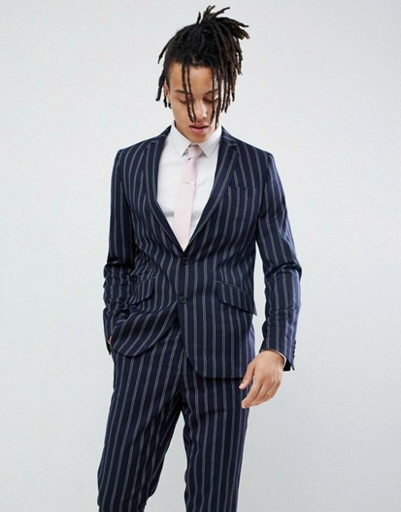 デビルズ アドボケート メンズ ジャケット・ブルゾン アウター Devils Advocate Slim Navy And Burgundy Stripe Suit Jacket Navy