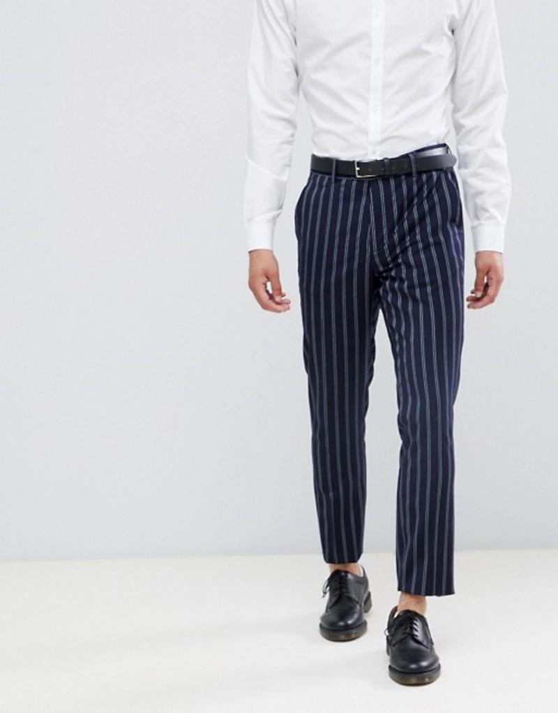 デビルズ アドボケート メンズ カジュアルパンツ ボトムス Devils Advocate Slim Navy And Burgundy Stripe Suit PANTS Navy