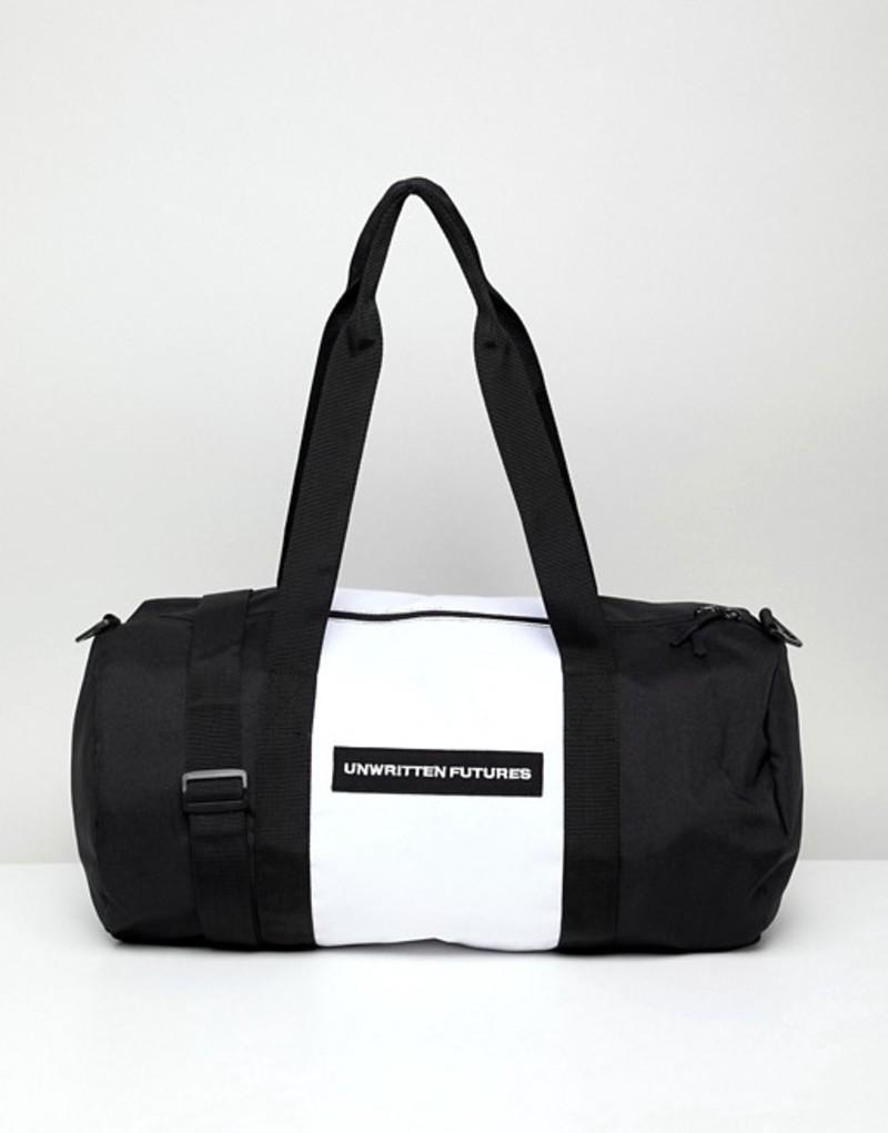エイソス メンズ ボストンバッグ バッグ ASOS DESIGN barrel bag in black with unwritten futures slogan Black
