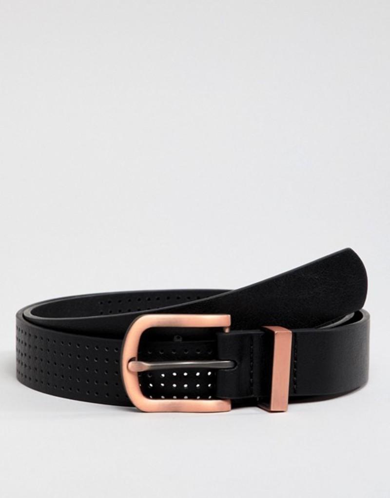 エイソス メンズ ベルト アクセサリー ASOS DESIGN faux leather slim belt in black with burnished rose gold buckle and metal keeper Black