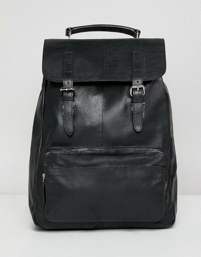 エイソス メンズ バックパック・リュックサック バッグ ASOS DESIGN leather backpack in black with front pocket and double straps Black