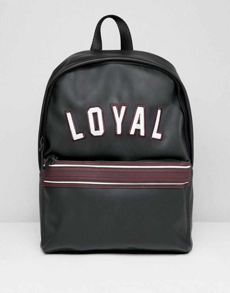 エイソス メンズ バックパック・リュックサック バッグ ASOS DESIGN backpack in black with loyal embroidery Black