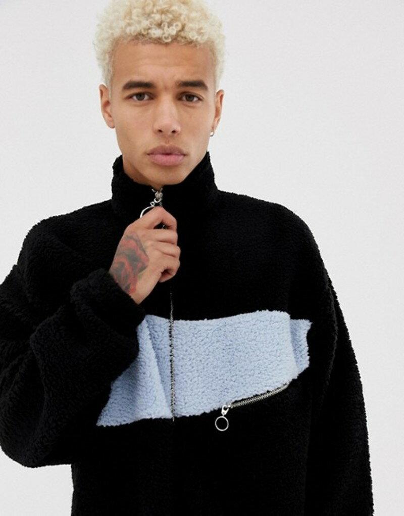 エイソス メンズ ジャケット・ブルゾン アウター ASOS DESIGN oversized track jacket in borg with color blocking and zip pocket Black