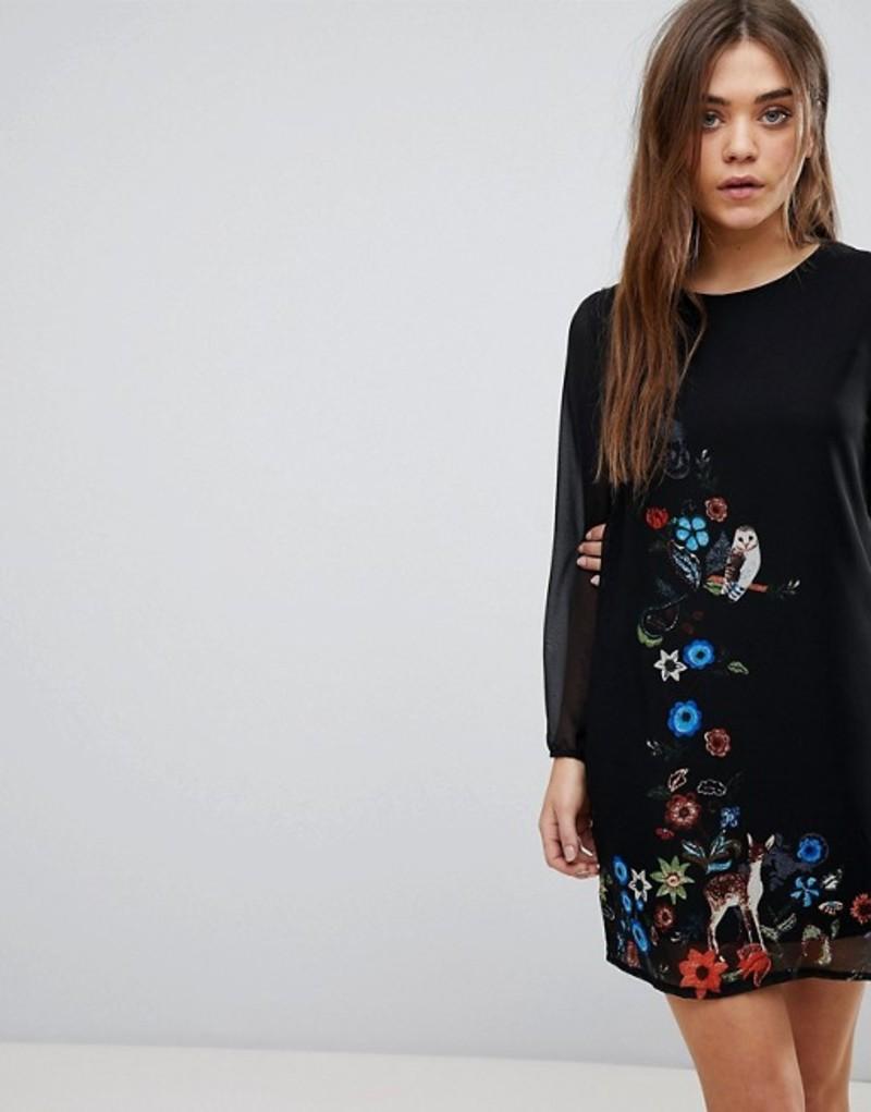 ユミキム レディース ワンピース トップス Yumi Long Sleeve Shift Dress In Woodland Border Print Black