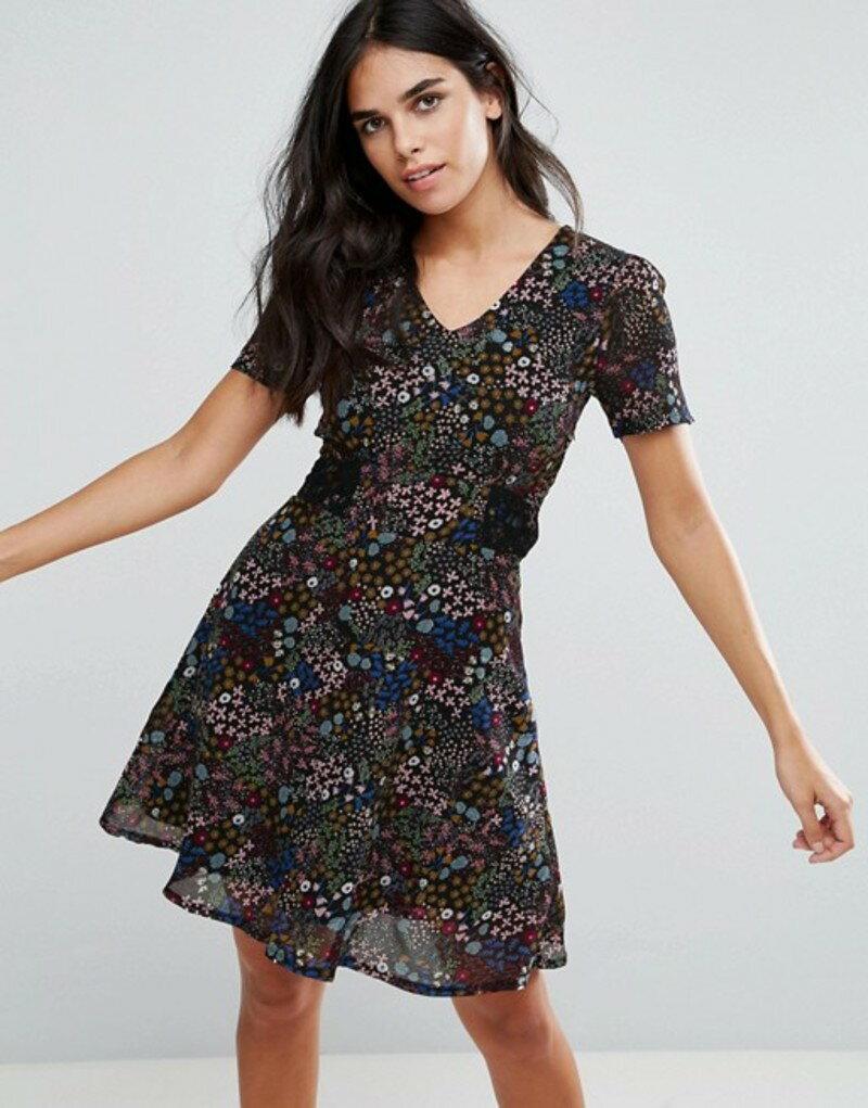 ユミキム レディース ワンピース トップス Yumi Tea Dress In Mini Ditsy Print Black