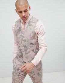 エイソス メンズ タンクトップ トップス ASOS DESIGN skinny suit vest in printed pink floral wool mix Pink