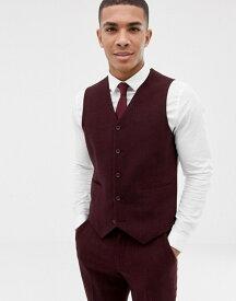 エイソス メンズ タンクトップ トップス ASOS DESIGN wedding skinny suit vest in burgundy wool mix herringbone Burgundy