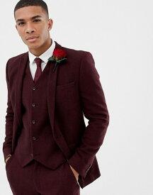 エイソス メンズ ジャケット・ブルゾン アウター ASOS DESIGN wedding skinny suit jacket in burgundy wool mix herringbone Burgundy