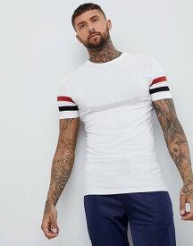 エイソス メンズ Tシャツ トップス ASOS DESIGN muscle t-shirt with contrast sleeve panels in white White