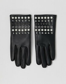 エイソス レディース 手袋 アクセサリー ASOS DESIGN leather look gloves with pearl and stud detail Black