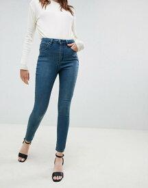 エイソス レディース デニムパンツ ボトムス ASOS DESIGN 'Sculpt me' high waisted premium jeans in green cast blue Isa