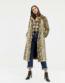 ウエアハウス レディース コート アウター Warehouse faux fur maxi coat in leopard Tobacco