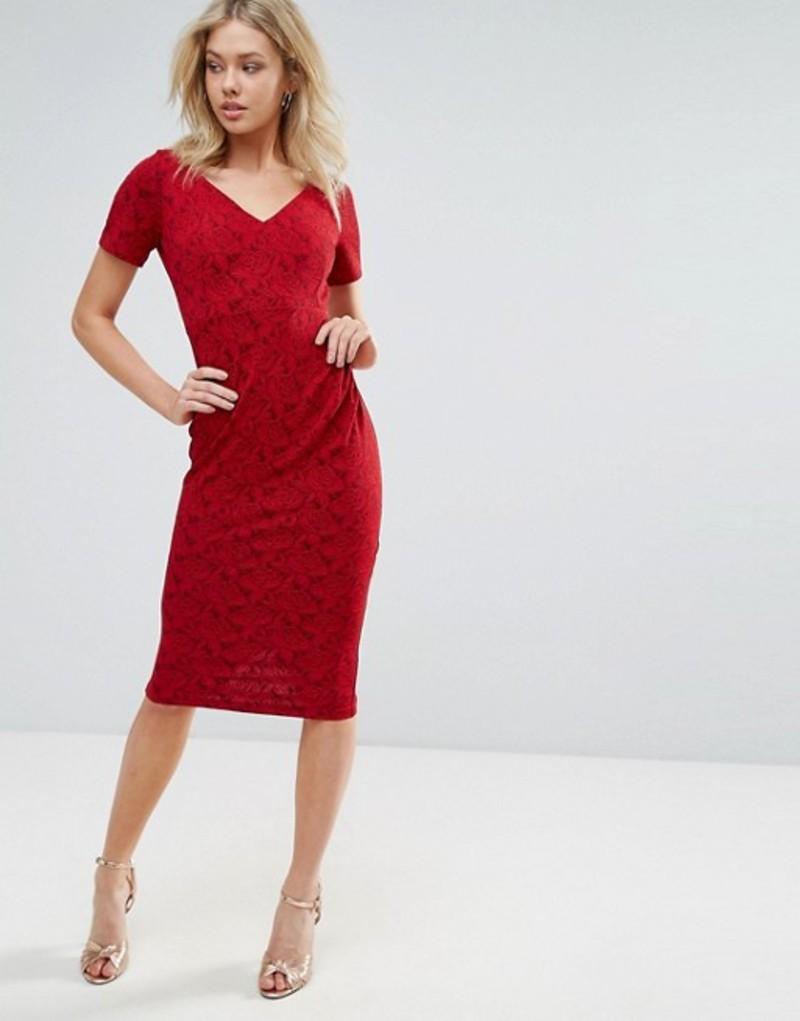 ベスパー レディース ワンピース トップス Vesper Short Sleeve Midi Dress Red rose sparkle