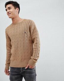 フレンチコネクション メンズ ニット・セーター アウター French Connection 100% Cotton Logo Cable Knit Sweater Camel