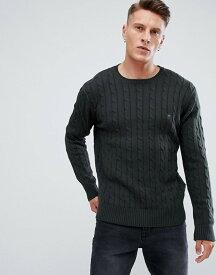 フレンチコネクション メンズ ニット・セーター アウター French Connection 100% Cotton Logo Cable Knit Sweater Dark green