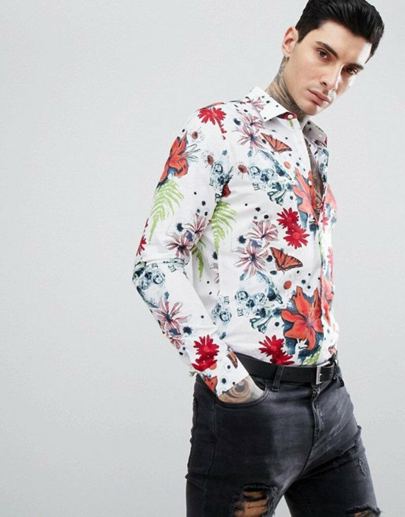 デビルズ アドボケート メンズ シャツ トップス Devil's Advocate Long Sleeve Slim Fit Large Floral Print Shirt White
