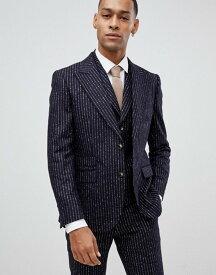 モス ブラザーズ メンズ ジャケット・ブルゾン アウター Moss London premium skinny suit jacket in 100% wool boucle stripe Navy ink