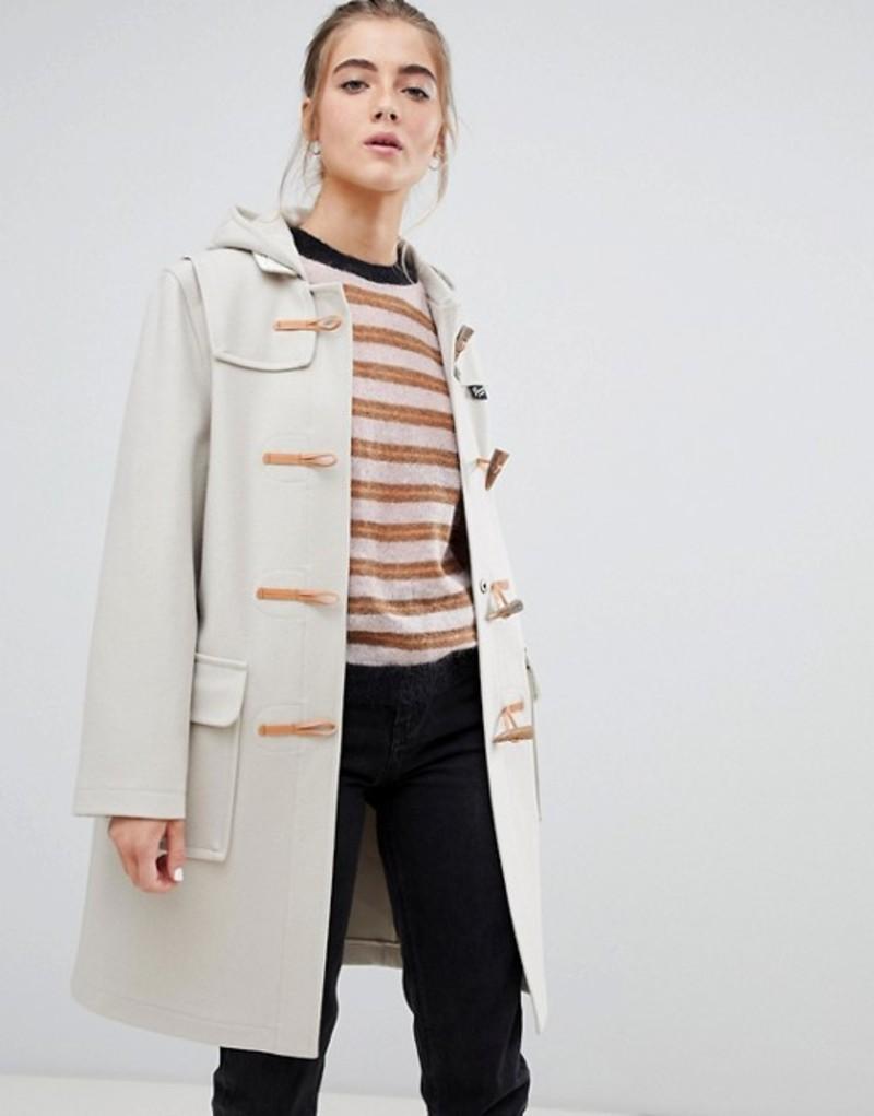 グローバーオール レディース コート アウター Gloverall Original long duffle coat in wool blend Arctic white