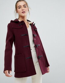 グローバーオール レディース コート アウター Gloverall long paneled duffle coat with hood Cranberry