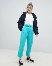 エイソス レディース デニムパンツ ボトムス ASOS DESIGN tapered jeans with curve seam in turquoise cord with self belt Turquoise