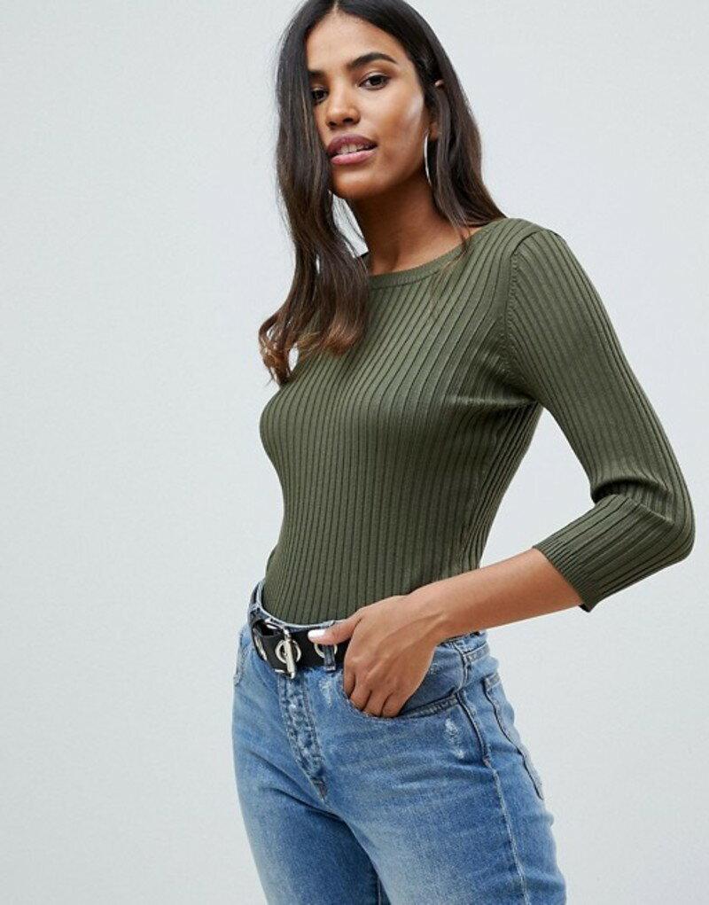 ノイジーメイ レディース ワンピース トップス Noisy May Rimi ribbed fitted sweater Green