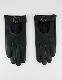 エイソス レディース 手袋 アクセサリー ASOS DESIGN leather gloves with circle detail hardware Black