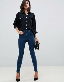 エイソス レディース デニムパンツ ボトムス ASOS DESIGN Ridley high waist skinny jeans in dark green blue tone wash Dark green blue
