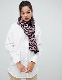 エイソス レディース マフラー・ストール・スカーフ アクセサリー ASOS DESIGN zebra print knitted scarf Pink