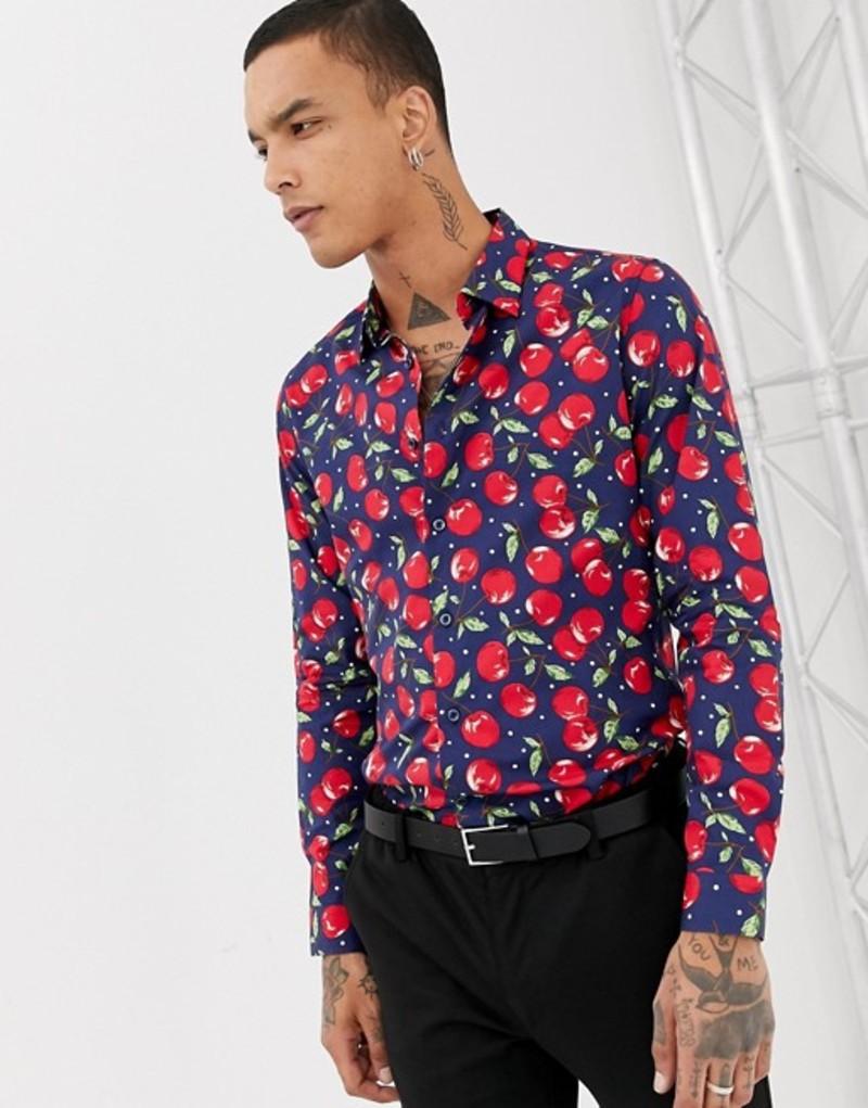 デビルズ アドボケート メンズ シャツ トップス Devils Advocate Slim Fit Cherry Print Shirt Navy
