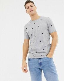 エイソス メンズ Tシャツ トップス ASOS DESIGN relaxed t-shirt with polka dot print Grey marl