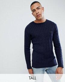 フレンチコネクション メンズ ニット・セーター アウター French Connection TALL 100% Cotton Logo Cable Knit Sweater Navy