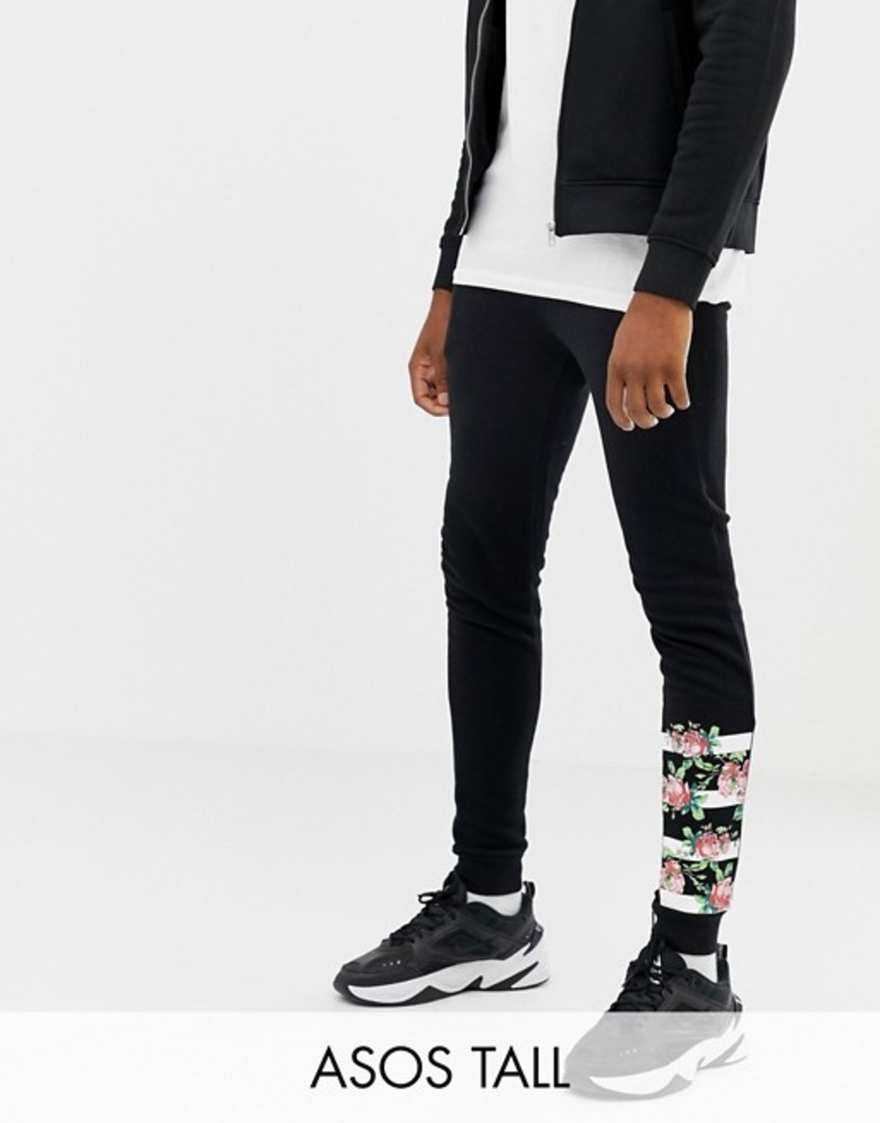 エイソス メンズ カジュアルパンツ ボトムス ASOS DESIGN tall super skinny joggers with rose gold zip pockets and print Black