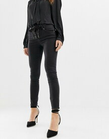 エイソス レディース デニムパンツ ボトムス ASOS DESIGN Whitby low rise skinny jeans in washed black with lace up front detail Washed black