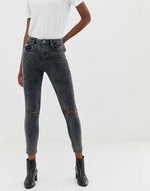エイソス レディース デニムパンツ ボトムス ASOS DESIGN super high rise firm skinny jeans in acid wash gray cord with busted knees Acid wash grey