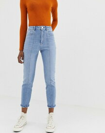 エイソス レディース デニムパンツ ボトムス ASOS DESIGN Farleigh high waist slim mom jeans in mid wash with vertical seam detail Mid wash blue