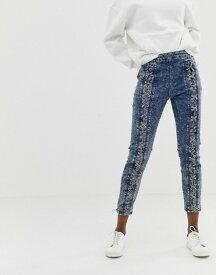 エイソス レディース デニムパンツ ボトムス ASOS DESIGN Farleigh high waist slim mom jeans in acid wash with lace up front detail Acid wash