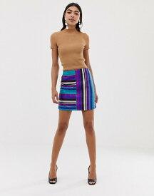 エイソス レディース スカート ボトムス ASOS DESIGN rainbow stripe metallic mini skirt Multi