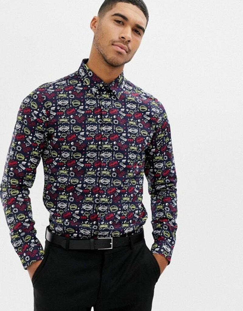 デビルズ アドボケート メンズ シャツ トップス Devils Advocate all over comic print slim fit shirt Navy
