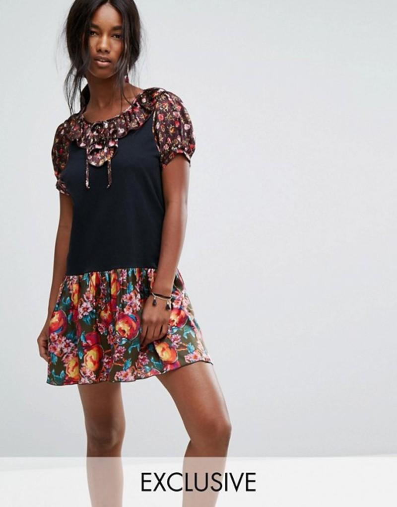 アナスイ レディース ワンピース トップス Anna Sui Exclusive Jersey Dress with Contrast Floral Trim Apple blossom