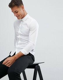 フレンチコネクション メンズ シャツ トップス French Connection Plain Stretch Skinny Fit Shirt White