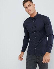 フレンチコネクション メンズ シャツ トップス French Connection Plain Stretch Skinny Fit Shirt Marine
