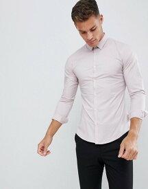 フレンチコネクション メンズ シャツ トップス French Connection Plain Stretch Skinny Fit Shirt Dusky pink