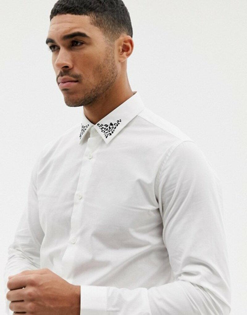 デビルズ アドボケート メンズ シャツ トップス Devils Advocate leopard embroidery slim fit shirt White