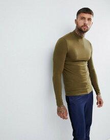 エイソス メンズ Tシャツ トップス ASOS DESIGN muscle fit long sleeve t-shirt with turtleneck in khaki Dark olive