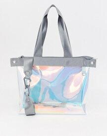 エイソス メンズ トートバッグ バッグ ASOS DESIGN oversized tote bag in iridescent Clear