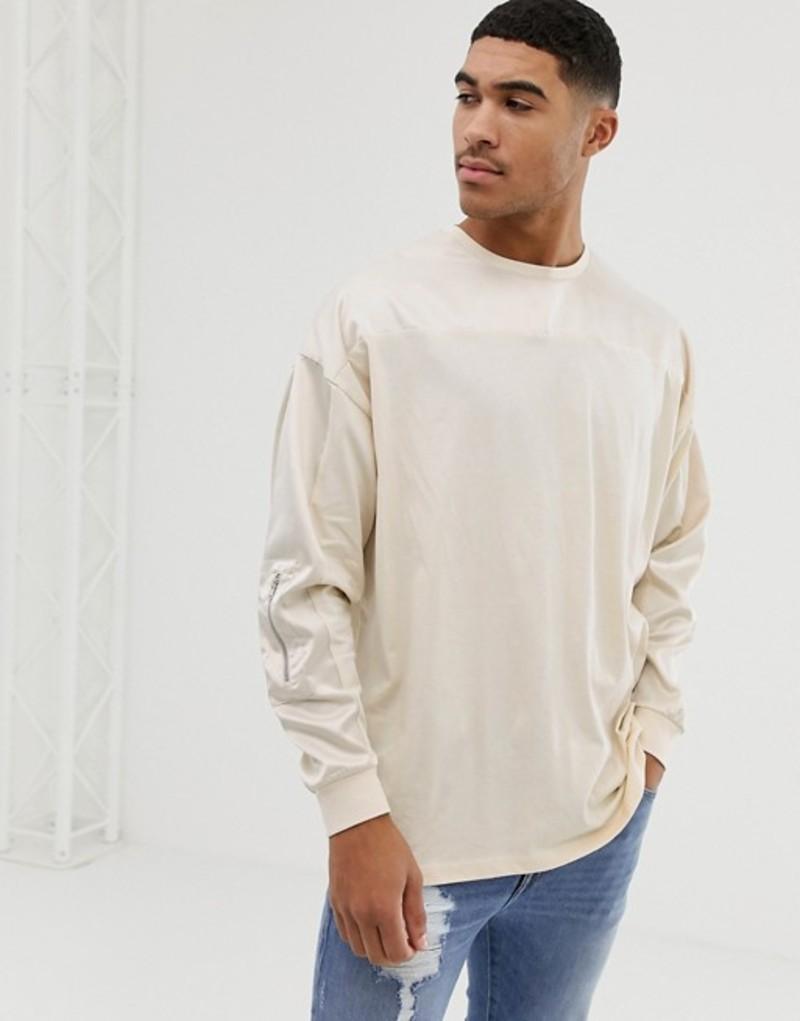 エイソス メンズ Tシャツ トップス ASOS DESIGN oversized longline long sleeve t-shirt with contrast woven fabric yoke and sleeve with zip pocket in beige Noodle